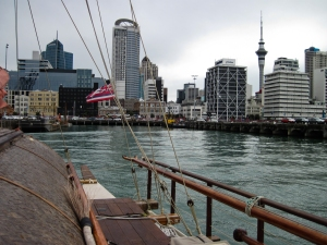 Downtown Auckland from the deck of Faafaite