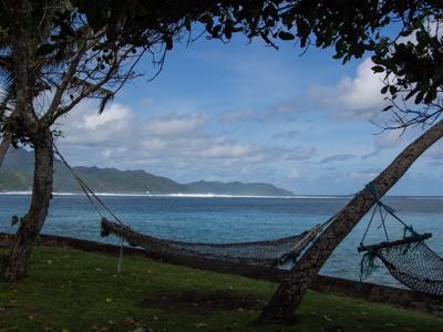 My front yard ~ fishing net hammocks!